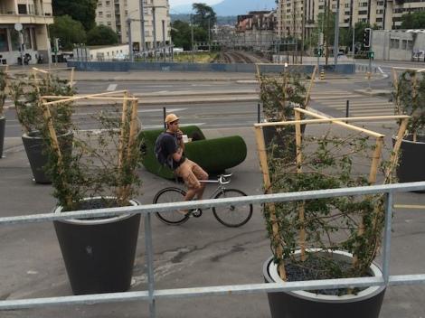 Pont des Délices, Genève : Le transit et le séjour cohabitent harmonieusement...